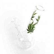 Bong cristal hojas Cánnabis verdes H:22cm diam:36mm